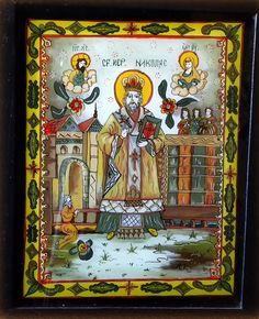Icoana pe sticla - Sfantul Ierarh Nicolae - autor: Florian Colea - Targoviste, Romania