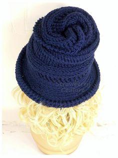 Crochet Hat Womens Hat Womens Crochet Hat Steampunk Hat Crochet Wide Brim Hat Women Navy Blue Hat Navy Hat VIRGINIA Wide Brim Hat by strawberrycouture by #strawberrycouture on #Etsy
