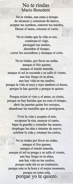 mario benedetti poemas no te rindas image search results The Words, More Than Words, Citation Gandhi, Quotes To Live By, Me Quotes, Spanish Quotes, Latin Quotes, Beautiful Words, Inspire Me
