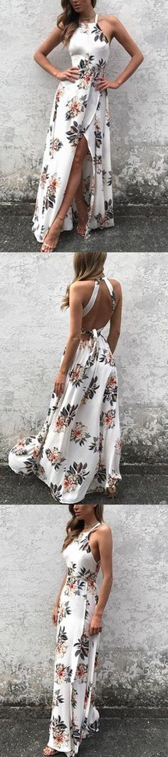 Simple Halter Side Slit Prom Dress,Floral Print Key Hole Back Evening Dress - Summer Dresses Trendy Dresses, Cute Dresses, Beautiful Dresses, Formal Dresses, Long Floral Dresses, Flower Dresses, Grad Dresses, Dresses Dresses, Evening Dresses