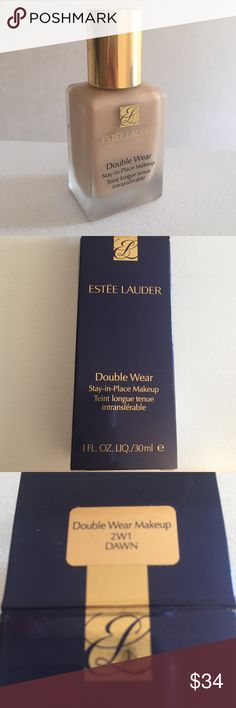 Estēe Lauder Double Wear Foundation Estée Lauder double wear foundation makeup lasts 15 hours. It stays in place and gives full coverage with minimum product. The color is 2W1 Dawn. I only used it once and realized it was not my color. Shipping is fast! Estee Lauder Makeup Foundation