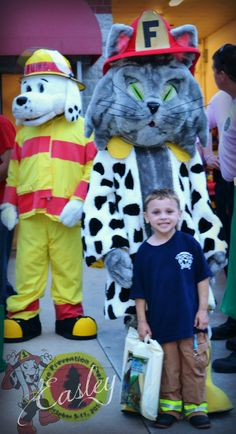 Freddie the Fire Cat and Sparky the Fire Dog during Fire Prevention Week Sparky The Fire Dog, Fire Prevention Week, Community Events, Fire Engine, Fire Department, Open House, Engineering, Education, Cats