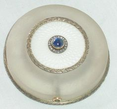 Circa 1900, FBERGE SILVER AND TRANSLUCENT WHIT GUILLOCHE ENAMELLED BELL PUSH, WORKMASTER HENRIK WIGSTROM, MKOSCOW, SAPPHIRE PUSH BORDERED BY DIAMIND