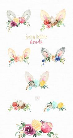 Spring Art Journal Pages Products 69 Ideas Flower Crown Drawing, Peony Drawing, Clipart, Conception Web, Easter Drawings, Rabbit Head, Spring Art, Scrapbooking, Art Journal Pages