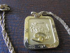 """Vintage SWANK Zodiac CANCER Pendant with 18"""" Chain Necklace Gold Plating Horoscope Birthday June 22-July 23 Collectible Birthday Uni Sex by GrammiesCupboard on Etsy"""