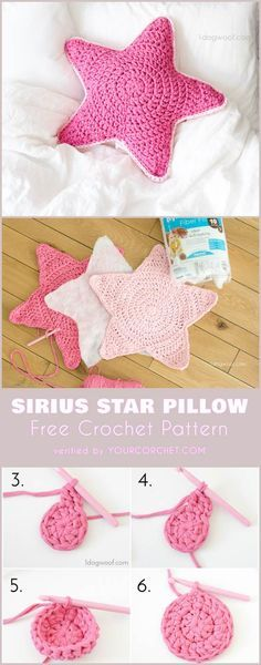 Sirius Star Pillow Free Crochet Pattern perfect for baby room.