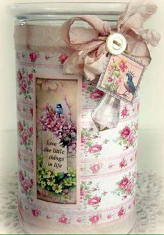 Creating from the Heart: ♥ Decoupage on Glass ♥ {Crafty Secrets Style! Decoupage Jars, Decoupage Vintage, Decoupage Paper, Shabby Vintage, Tin Can Crafts, Diy And Crafts, Paper Crafts, Rose Candle, Glass Candle