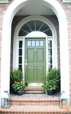 front door makeover by @Emily A. Clark  Behr's Amazon Jungle