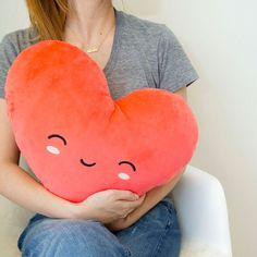 A warming heart pillow to hunker down with on a cold day.