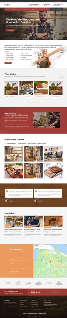 Craftio is a clean and modern design 5in1 responsive WordPress #template for #carpenter and #craftsmanship beautiful website to download & live preview click on image or Visit #wptheme