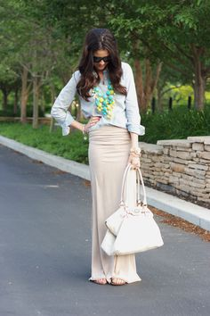 maxi skirt and chambray shirt with neon necklaces