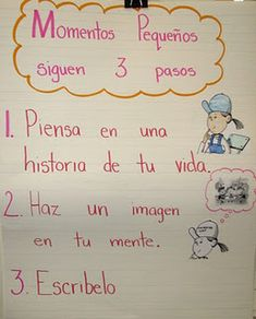 """Lucy Caulkins """"Small Moments"""" chart in Spanish"""