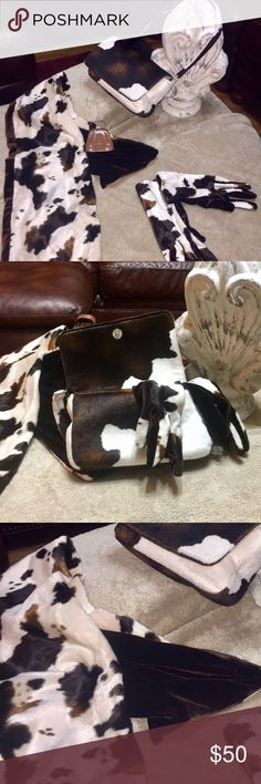 Matching pony-print purse, scarf, gloves Great gift idea! High-end feel. Soft texture. Price includes 3 items: 1) Gloves should fit small to medium hands and are print on one side with solid brown palm. 2) Scarf has same color pattern. 3) Matching purse has magnetic closure and inside zipper. Like-new condition. Marries well with a variety of shoes and outfits. Bags Mini Bags