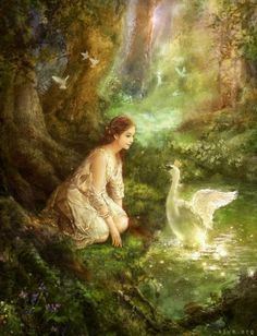 Leda and the Swan Painter, Photoshop Hyung Jun Kim Images Esthétiques, Tres Belle Photo, Renaissance Kunst, King Art, Fairytale Art, Swans, Classical Art, Beautiful Paintings, Faeries