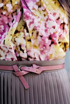 belted skirt with florals