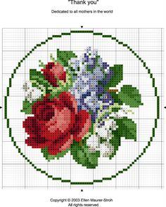 Rose and Lily Cross Stitch Pattern Mini Cross Stitch, Cross Stitch Borders, Cross Stitch Flowers, Cross Stitch Charts, Cross Stitch Designs, Cross Stitching, Cross Stitch Embroidery, Cross Stitch Patterns, Crochet Cross