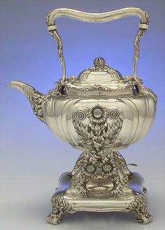Kettle, Stand  Burner in the Chrysanthemum pattern by Tiffany  Co Silver