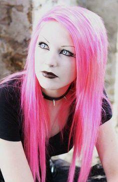 Pink Goth hair.