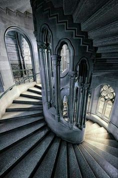 Spiral Staircase at Manchester Town Hall, England, UK. Gothic Architecture, Futuristic Architecture, Beautiful Architecture, Beautiful Buildings, Beautiful Places, Architecture Drawing Plan, Stairs Architecture, Architecture Design, Manchester Town Hall