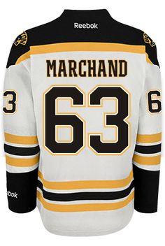 Boston Bruins Brad MARCHAND #63 Official Away Reebok Premier Replica NHL Hockey Jersey (HAND SEWN CUSTOMIZATION)