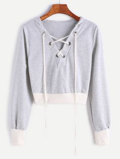 SheIn(sheinside) Contrast Ribbed Trim Hooded Lace Up Crop Sweatshirt Trendy Outfits, Cool Outfits, Summer Outfits, Teen Fashion, Fashion Outfits, Womens Fashion, Leila, Mein Style, Cropped Sweater