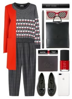 """""""grey & red"""" by foundlostme on Polyvore featuring Markus Lupfer, NYX, Thomaspaul, Chanel, NARS Cosmetics, Building Block, Brunello Cucinelli, MAC Cosmetics, Bobbi Brown Cosmetics and wintersweater"""