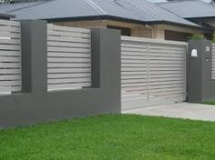 house fence with slats blue grey - Google Search