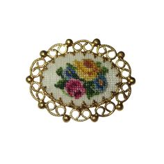 Vintage Floral Embroidered Brooch Pin