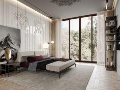 DEDE/Marsala apartment on Behance Modern Bedroom Design, Contemporary Bedroom, Luxury Interior, Interior Design, Round Beds, Bedroom Green, Bedroom Styles, Luxurious Bedrooms, Marsala