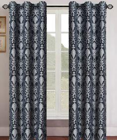 Black  Silver Gladys Jacquard Curtain Panel - Set of Two