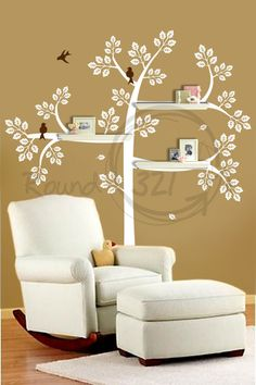 I like this idea for shelves!  Nursery Room Shelve Tree With Wall Decal   Bedroom and by Round321, $105.00