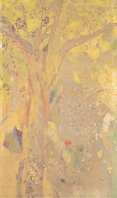Odilon Redon, Domecy Decoration: Trees, Yellow Background, 1901