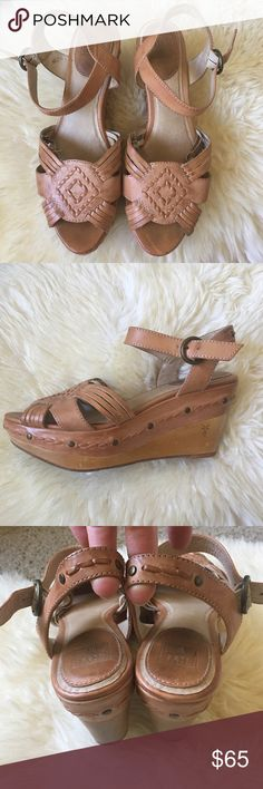 Frye sandals - Carlie Huarache Frye wedge sandals in tan! Super cute leather, wood wedge and rubber sole. Frye Shoes Platforms
