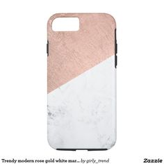 Trendy modern rose gold white marble color block iPhone 7 case