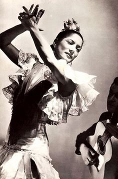 "Carmen Amaya pair Juan Gyenes. She was a gypsy dancer who was to become one of the most outstanding ""bailaoras"" (female flamenco dancers) of the twentieth century; she was also one of the most imitated. Her hard masculine style of dance was often copied, but many believe she was inimitable and to this day there has never been a dancer to match her ferocious style of dance. Her fast rattling foot work became her trait"