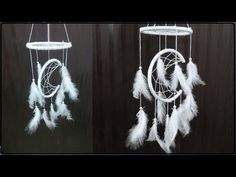 Paper Crafts tutorial on Handmade Home Decor: DIY Moon Arc Dream Catcher. This Moon arc dream catcher is a handmade web of yarn woven around an embroidery ho. Disney Diy Crafts, Easy Diy Crafts, Handmade Crafts, Jute Crafts, Paper Crafts, Diy Paper, Dream Catcher Craft, Dream Catchers, Dream Catcher Tutorial