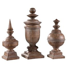 Set of 3 finials.  www.crestviewcollections.com