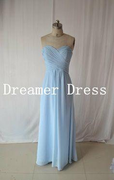 Chiffon Blue Prom Dress, Bridesmaid Dress, Evening Dresses ,Prom Dress ,Long Party Dress