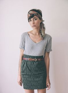 Belt + skirt over easy v-neck tee. And the bohemian headscarf (sold by the brocade pattern of the skirt).