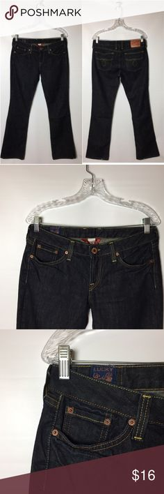 "Lucky Brand Women's Jeans Size 8 Lola But Cut Lucky Brand Women's Jeans Size 8 by Gene Montesano Lola  Boot Cut Low Waist: 31"" Rise: 8""  Inseam: 32"" Good conditions, show some normal wear/ Faded Hem (P) Lucky Brand Jeans"