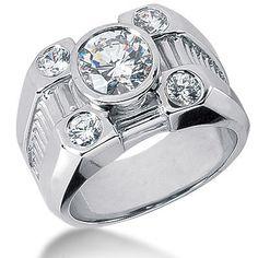 Platinum Men's Diamond Ring 2.80ct