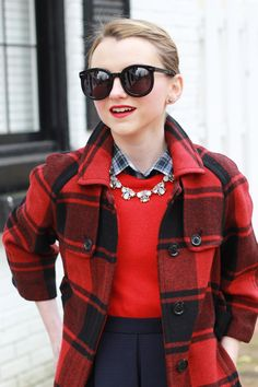 Red and Black | Poor Little It Girl - Red Buffalo Check Coat, Navy Skater Skirt, Red Sweater and Black Sunglasses
