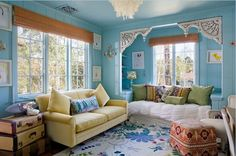 Steve & Brooke Giannetti Selling Romantic Shingle-Style Home Turquoise Girls Rooms, Turquoise Room, Blue Rooms, Blue Walls, Alcove Bed, Patina Farm, Shingle Style Homes, Just Dream, Girls Bedroom