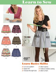 Misses SKIRT Sewing Pattern - EASY Learn to Sew Skirts - 7 Sizes