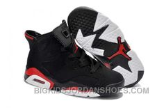 0bb8e3d24a69 Nike Air Jordan 6 Kids Black Red Shoes New
