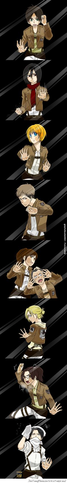 Attack on titan! This is what all the characters would do if they were trapped inside a glass box...