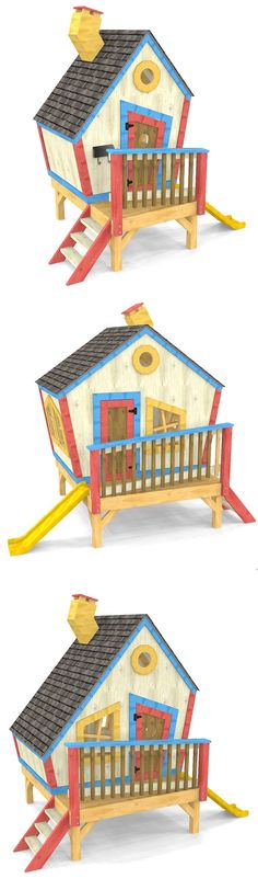 3 DIY, toddler sized playhouse plans.  Wacky and crooked in design, these woodworking plans make for a great outdoor project for the whole family.  Download the PDF today! #WoodworkingPlansForKids #toddlerplayhouse