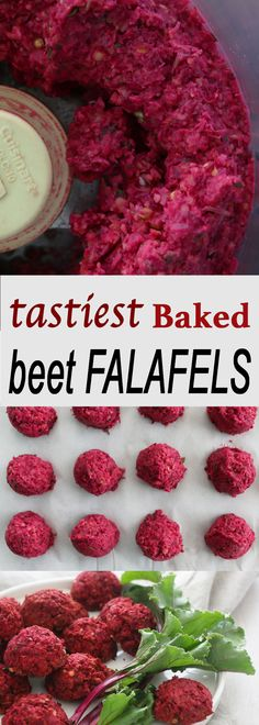 The tastiest falafel ever! Fresh beets, canned garbanzo beans and spices are baked to make the most delicious and healthy baked beet falafel. Dairy Free Snacks, Dairy Free Recipes, Vegan Recipes, Snack Recipes, Vegan Ideas, Recipes Dinner, Brunch Recipes, Timmy Time, Vegetarian Snacks