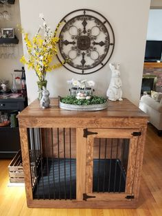 Dog crate Single door custom kennel dog furniture Ohio handcrafted end table Wooden Dog Crate, Diy Dog Crate, Dog Crate End Table, Dog Kennel End Table, Decorative Dog Crates, Wood Dog, Cage Deco, Double Dog Crate, Dog Crate Furniture