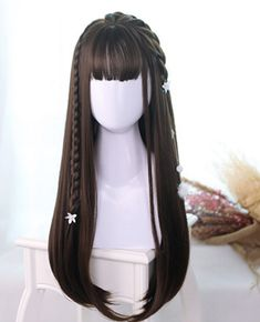 long straight lolita wig - July 20 2019 at Kawaii Hairstyles, Hairstyles With Bangs, Pretty Hairstyles, Straight Hairstyles, Hairstyle Men, Casual Hairstyles, Black Hairstyles, Hairstyles Haircuts, Wedding Hairstyles